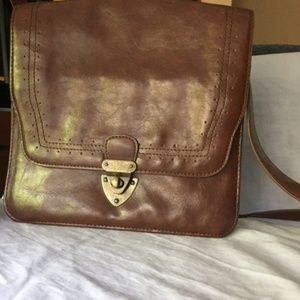 Brown 70s Box Style Standing Shoulder Bag